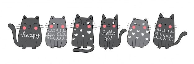 Narysuj kolekcję zabawny czarny kot doodle styl kreskówkowy