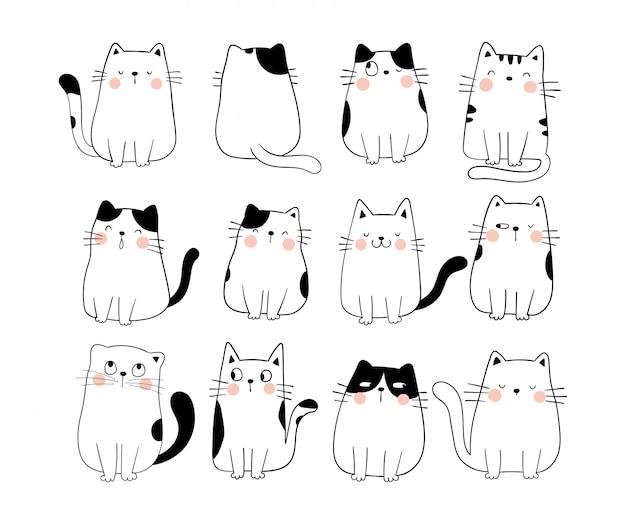 Narysuj kolekcję zabawny kot doodle styl kreskówki.