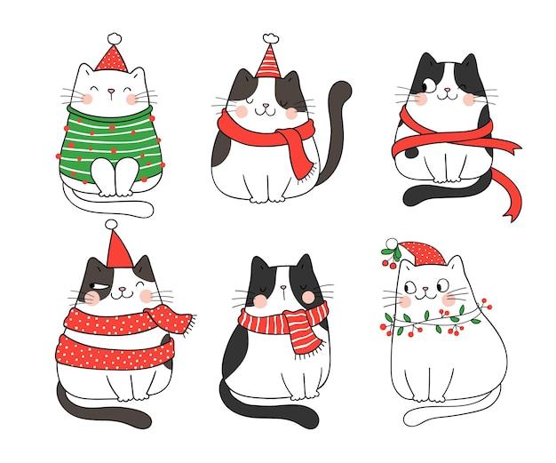 Narysuj kolekcję zabawnych kotów na zimę i nowy rok