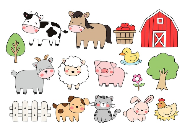 Narysuj kolekcję zwierząt gospodarskich doodle stylu cartoon