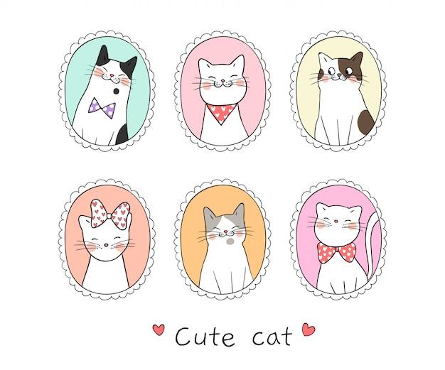 Narysuj kota kolekcji w słodkiej ramie.