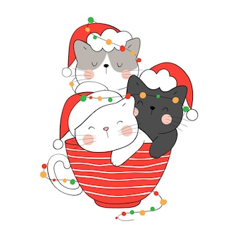 Narysuj kota lampką bożonarodzeniową w czerwonym kubku na nowy rok i zimę.