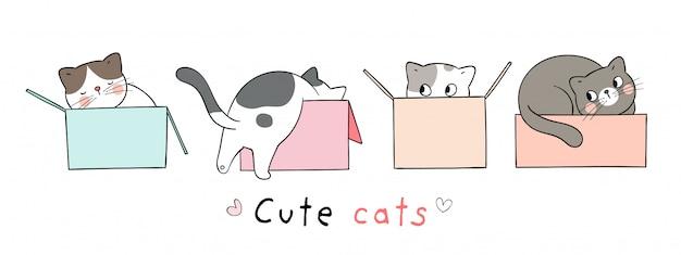 Narysuj kota w pudełku na białym doodle stylu cartoon.