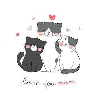 Narysuj kotkę mamę i dziecko z małym sercem na białym na dzień matki.