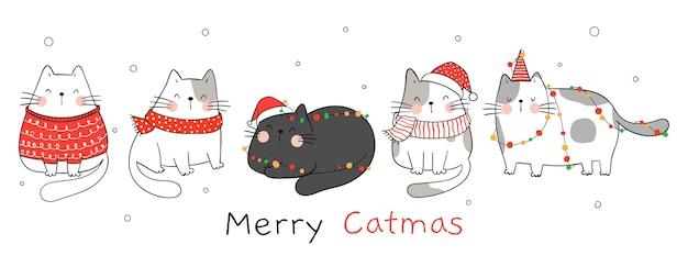 Narysuj koty bannerowe ze światłem bożonarodzeniowym na zimę i nowy rok.