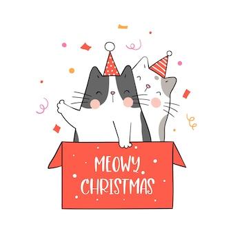 Narysuj koty w czerwonym pudełku na zimę i nowy rok.
