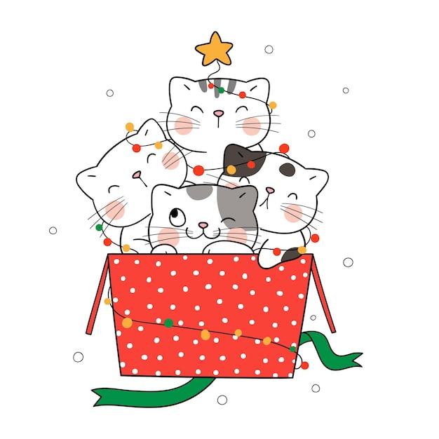 Narysuj koty w pudełku prezentowym na boże narodzenie i nowy rok