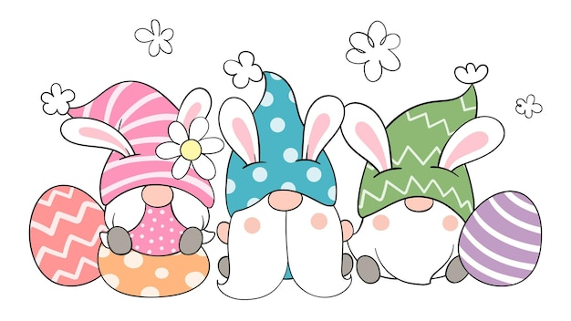 Narysuj krasnale z jajkami na wielkanoc i wiosnę