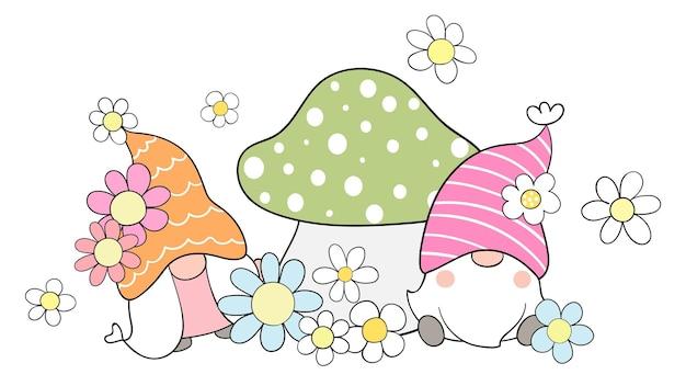 Narysuj krasnale z kwiatem na sezon wiosenny