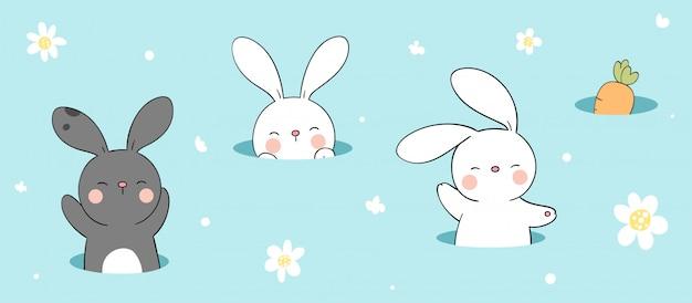 Narysuj królika i marchewkę w otworze na kolor niebieski.