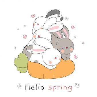 Narysuj królika śpiącego na marchewce, który jest szczęśliwy na wiosnę.