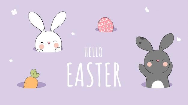 Narysuj królika w dziurze na fioletowym pastelu na wielkanoc i wiosnę.