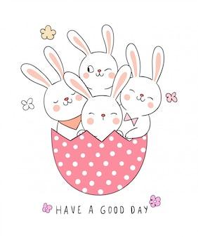 Narysuj królika w różowym jajku na sezon wiosenny.
