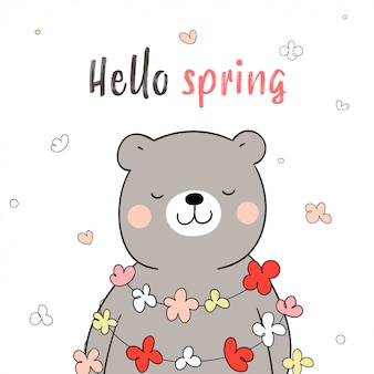 Narysuj kwiat wokół słodkiego misia, tak szczęśliwego na wiosnę.