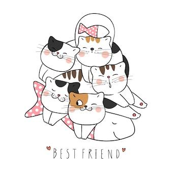 Narysuj ładny kot śpi i słowo najlepszego przyjaciela