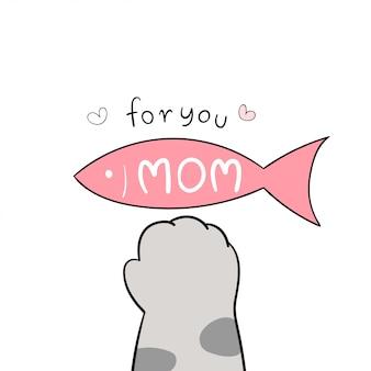 Narysuj łapę kota i różową rybę na biały na dzień matki.