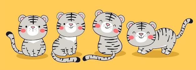 Narysuj małego białego tygrysa na żółtym tle na szczęśliwego chińskiego nowego roku