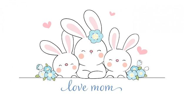 Narysuj mamę królik i słodkie dziecko z kwiatem piękna na dzień matki.
