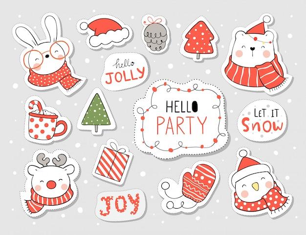 Narysuj naklejki śmieszne zwierzę i element na boże narodzenie i nowy rok.