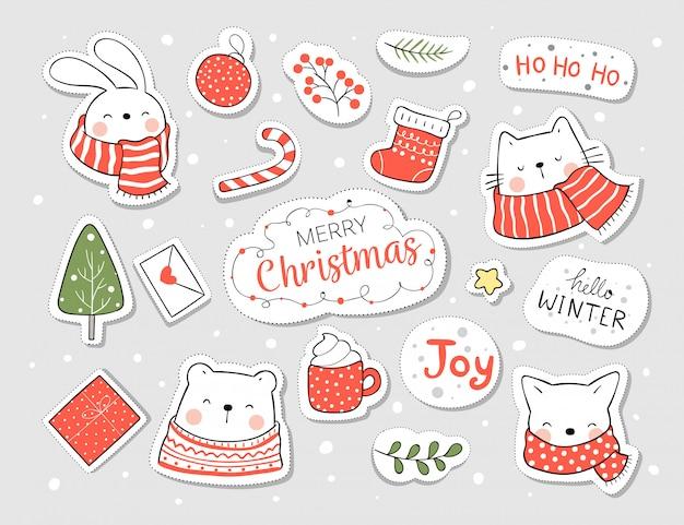Narysuj naklejki zwierzęce i element na boże narodzenie i nowy rok.