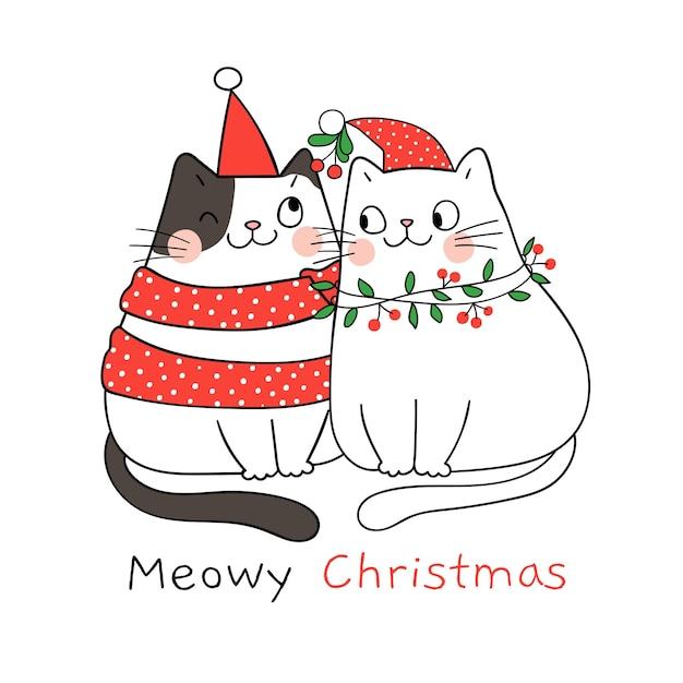 Narysuj parę miłości do kota z jemiołą na boże narodzenie i nowy rok