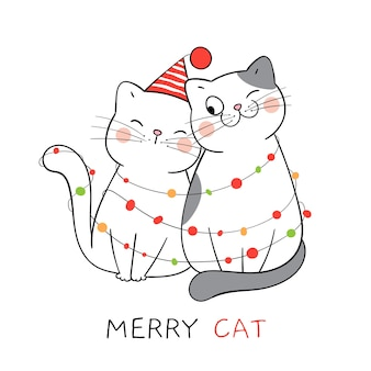 Narysuj parę miłości kota na nowy rok i boże narodzenie.