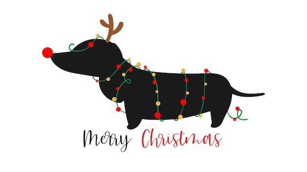 Narysuj psa jamnika na boże narodzenie i nowy rok