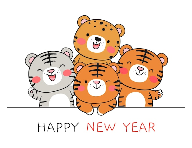 Narysuj rok tygrysa na boże narodzenie i nowy rok