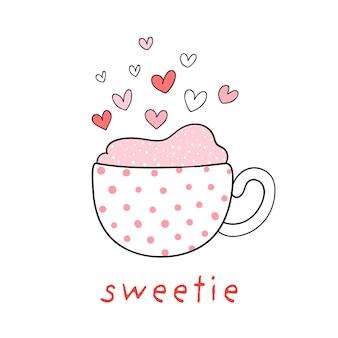 Narysuj słodką filiżankę kawy z małym sercem na walentynki.