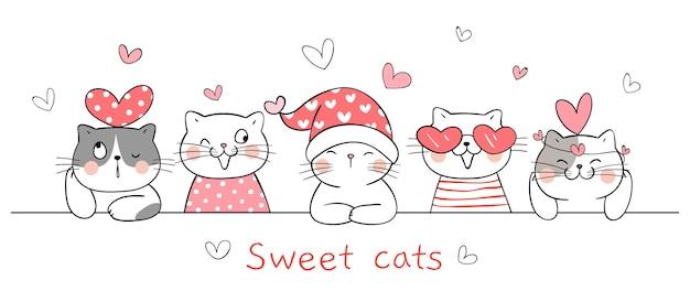 Narysuj słodkie koty z małym sercem na walentynki.