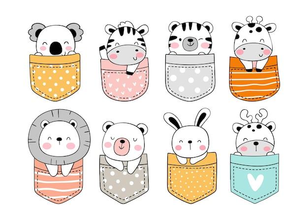 Narysuj Słodkie Zwierzę W Kieszeni Doodle Stylu Cartoon Premium Wektorów