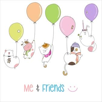 Narysuj słodkie zwierzęce kreskówki, latające z balonem