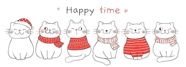 Narysuj słodkiego kota na boże narodzenie i zimę doodle stylu cartoon