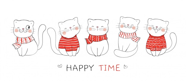 Narysuj słodkiego kota z czerwonym szalikiem i swetrem na boże narodzenie.