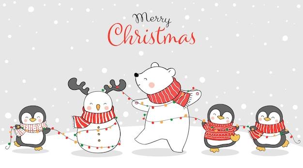 Narysuj słodkiego pingwina i niedźwiedzia polarnego zimą na boże narodzenie