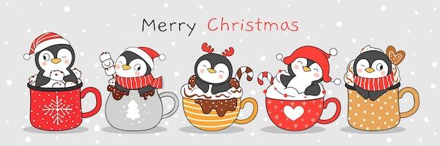 Narysuj słodkiego pingwina w świątecznym napoju doodle stylu cartoon