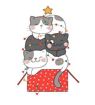Narysuj śmieszne koty śpiące na pudełku prezentowym na boże narodzenie i nowy rok