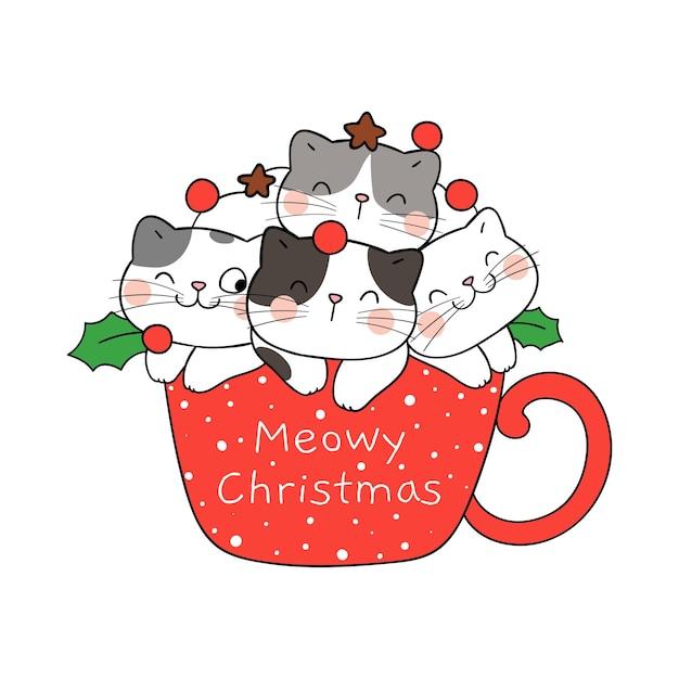 Narysuj śmieszne koty w filiżance gorącej czekolady na zimę i nowy rok
