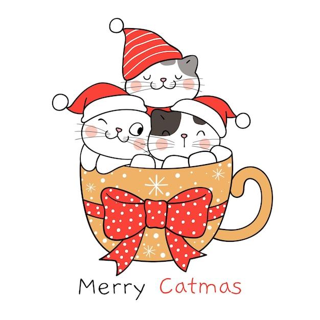 Narysuj śmieszne koty w kubku marshmallow na boże narodzenie i nowy rok