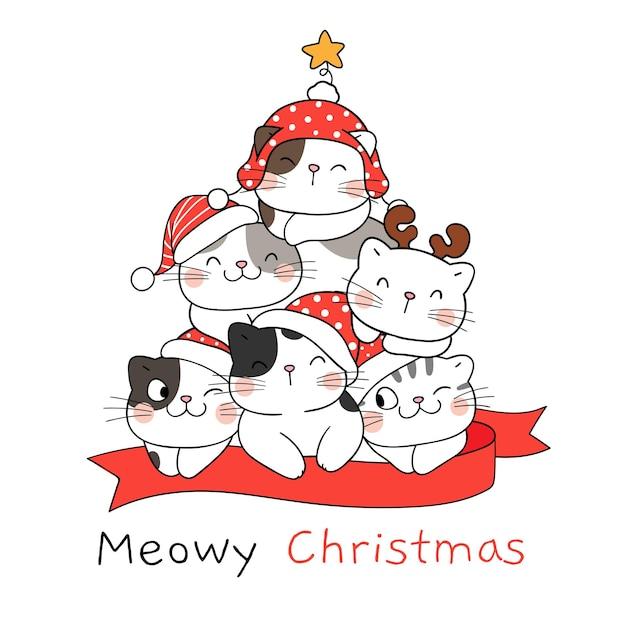 Narysuj śmieszne koty z choinką na zimę i nowy rok