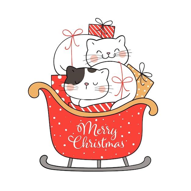 Narysuj śmieszne koty z saniami mikołaja na zimę i nowy rok