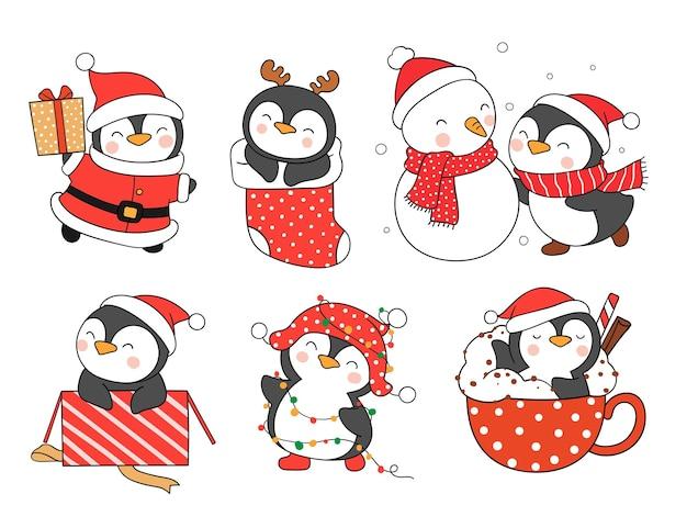 Narysuj śmieszne pingwiny na boże narodzenie i nowy rok