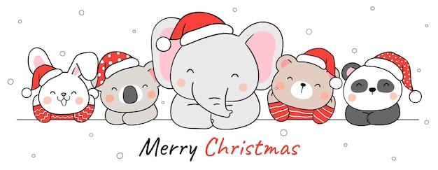 Narysuj śmieszne zwierzęta na boże narodzenie i zimę