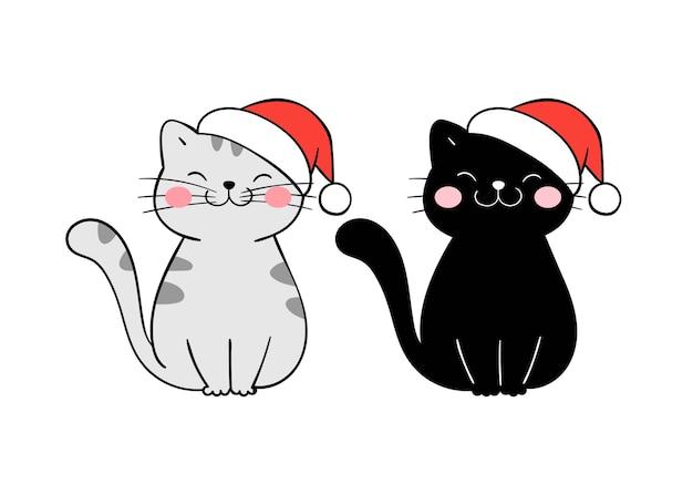 Narysuj świątecznego kota z czapką na przyjęcie.