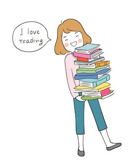 Narysuj szczęśliwą dziewczynę trzymającą książki i mówiąc: kocham czytać
