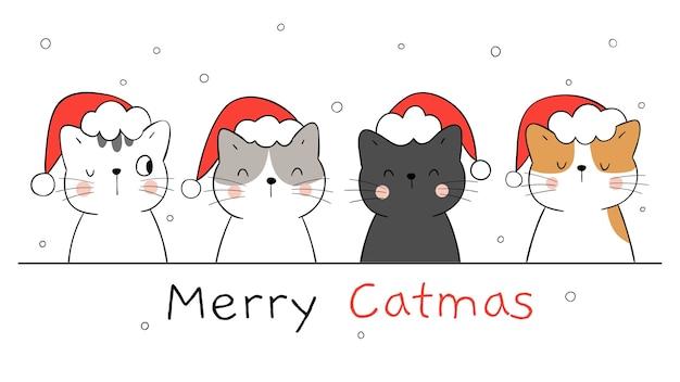 Narysuj Szczęśliwe Koty Na Zimę, Nowy Rok I Boże Narodzenie. Premium Wektorów