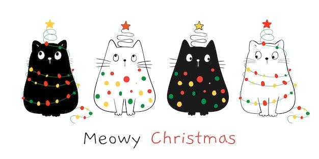Narysuj szczęśliwe koty światłem bożonarodzeniowym na zimę i nowy rok.