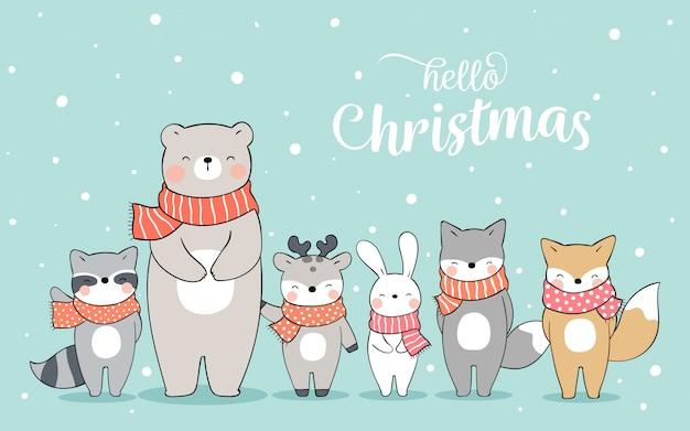 Narysuj szczęśliwe zwierzę stojące na śniegu na boże narodzenie.