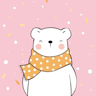 Narysuj szczęśliwego niedźwiedzia polarnego w szaliku na jesień.