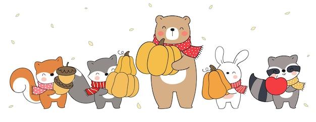Narysuj transparent leśne zwierzę na jesień